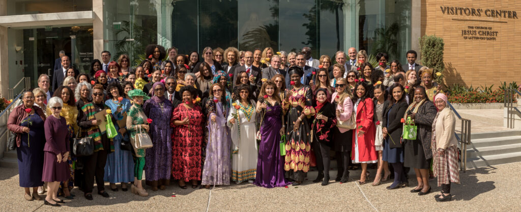 Attendees at the fourth annual International Women-in-Diplomacy Day, which was held at the Los Angeles California Temple Visitors' Center on Monday, March 9, 2020, pose for a group photo outside the visitors' center.