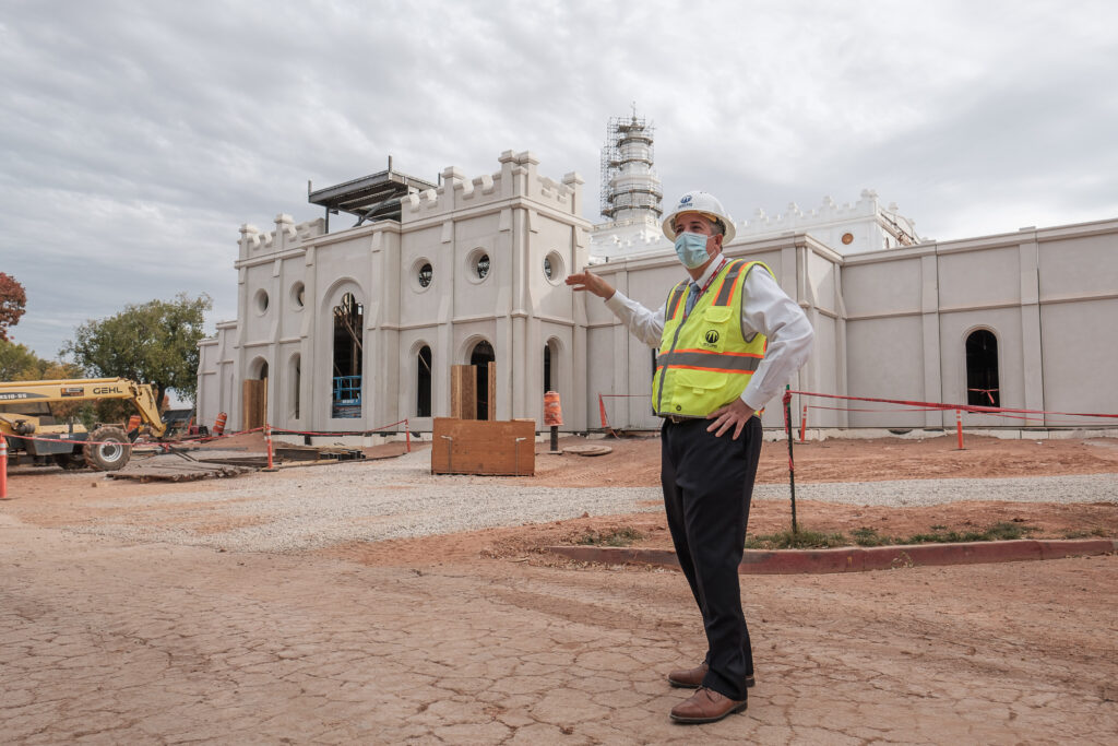 Andy Kirby, director of historic temple renovations for The Church of Jesus Christ of Latter-day Saints, talks to members of the media outside the unfinished entrance of the St. George Utah Temple on Friday, Nov. 6, 2020, in St. George. The new entrance replaces an older one built in the 1970s and reflects the aesthetic of the original temple. The historic temple is undergoing renovations that are expected to be completed in 2022.