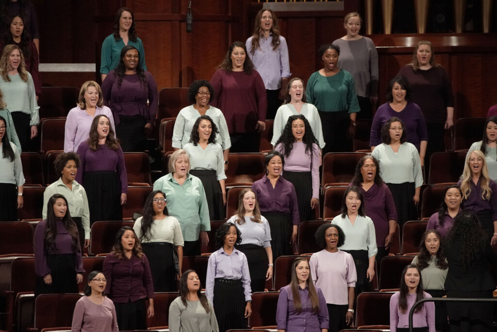 The multicultural choir from stakes in Utah sings during the 191st Semiannual General Conference of The Church of Jesus Christ of Latter-day Saints in Salt Lake City on Saturday, Oct. 2, 2021.