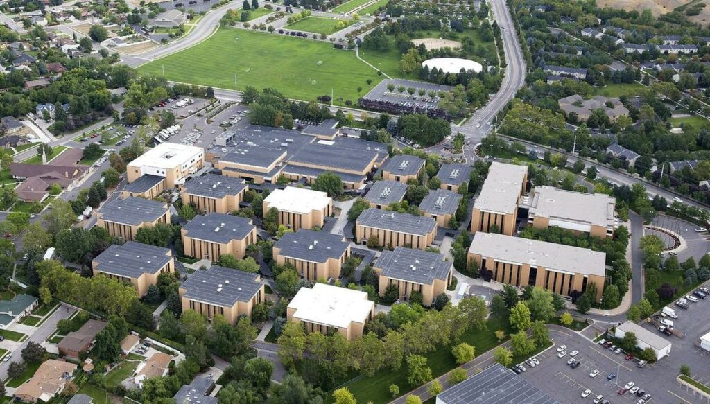 A photo taken in 2013 shows part of Brigham Young University campus and the Provo Missionary Training Center.