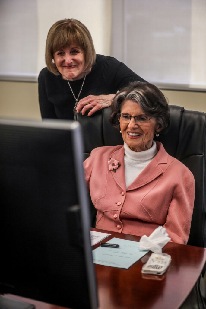 Jennifer Marsh, left, speaks about Ardeth Kapp, right, during a Zoom call to celebrate Kapp's 90th birthday at Thanksgiving Point on Sunday, March 21, 2021. There where four rounds of calls to allow adequate talking time for friends and family.