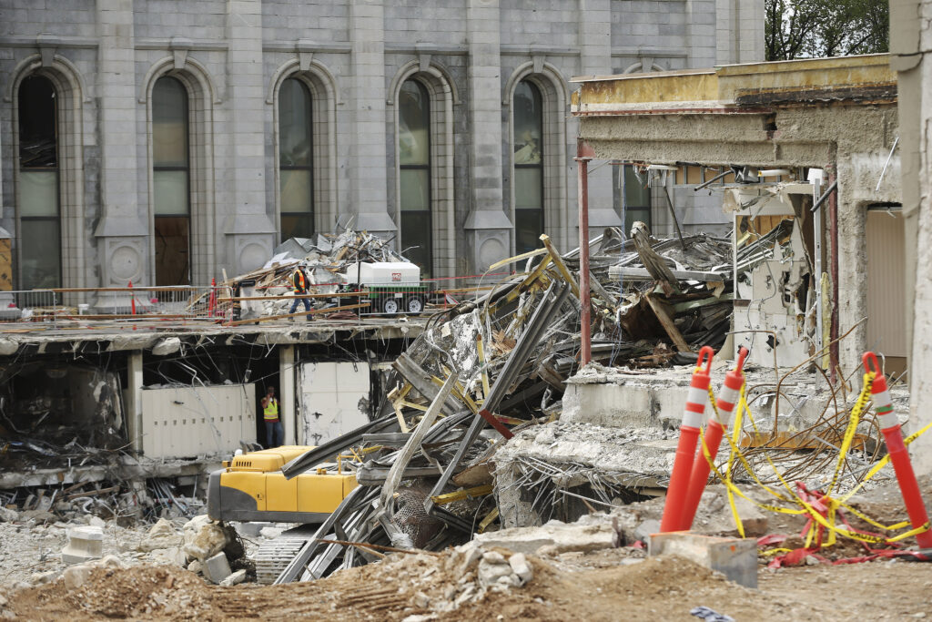 Renovation of the Salt Lake Temple of The Church of Jesus Christ of Latter-day Saints in Salt Lake City continues on Tuesday, June 30, 2020.