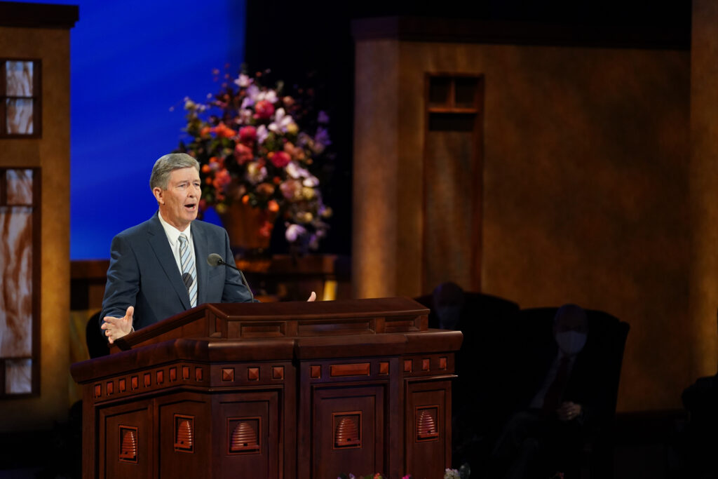 Elder S. Gifford Nielsen, General Authority Seventy, speaks during the priesthood session of the 191st Annual General Conference on April 3, 2021.