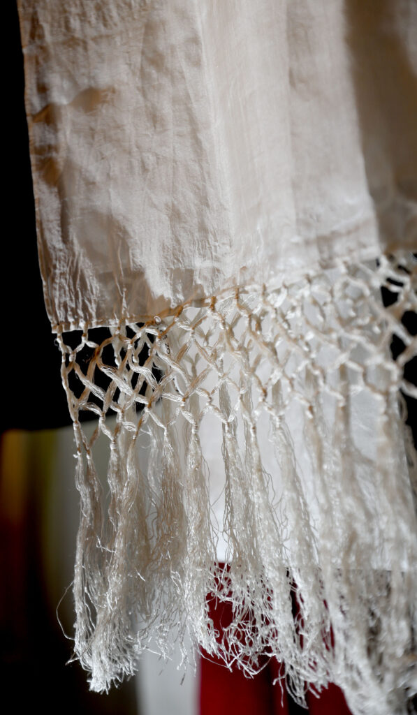 Joseph F. Smith's scarf is on display in a bedroom reflecting his bedroom from 1918 in the Beehive House in Salt Lake City on Wednesday, Sept. 22, 2021.