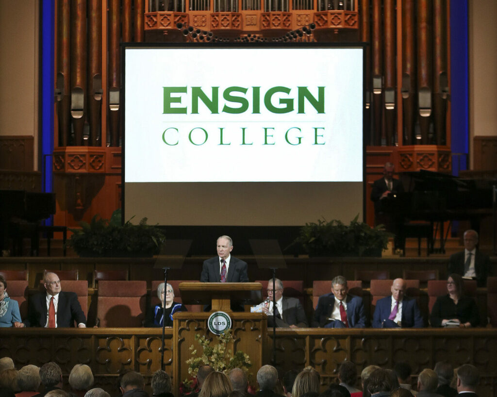 Bruce Kusch, president of LDS Business College, speaks to students during a devotional at the Assembly Hall on Temple Square in Salt Lake City on Tuesday, Feb. 25, 2020, where it was announced the school's name will be changed to Ensign College on Sept. 1.