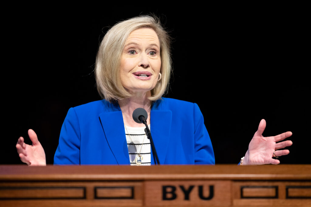 Young Women general president Sister Bonnie H. Cordon speaks at a Brigham Young University devotional in the Marriott Center on campus Feb. 4, 2020.