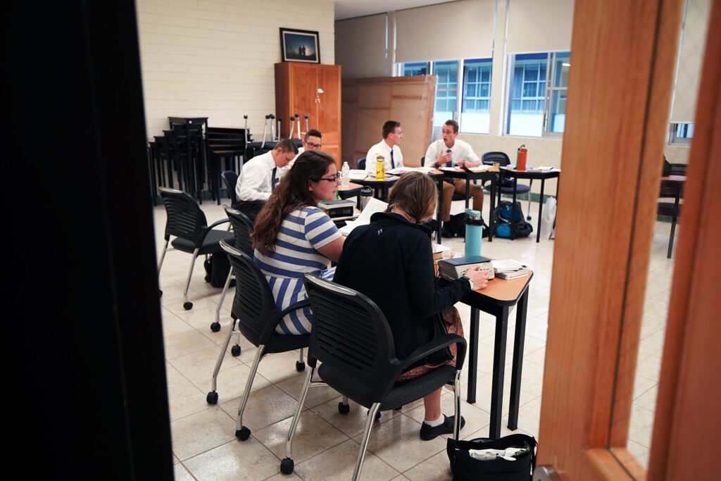 Missionaries study during a class at the Mexico Missionary Training Center of The Church of Jesus Christ of Latter-day Saints on Saturday, Jan. 25, 2020.