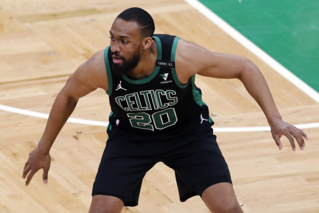 Boston Celtics' Jabari Parker plays against the Golden State Warriors during the first half of an NBA basketball game, Saturday, April 17, 2021, in Boston.