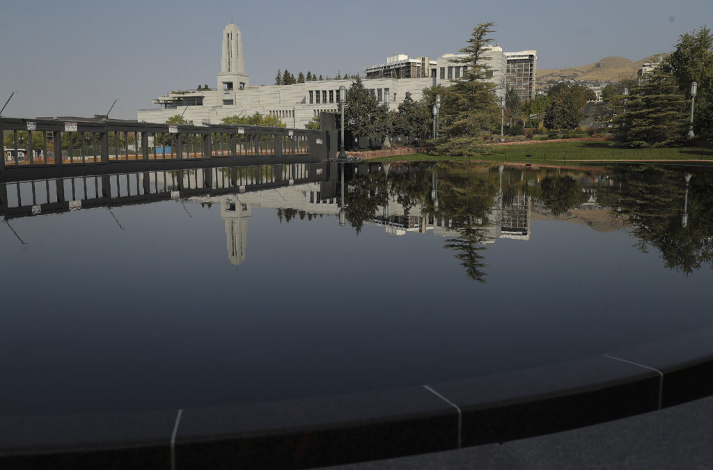 The Conference Center is reflected during the 190th Semiannual General Conference of The Church of Jesus Christ of Latter-day Saints in Salt Lake City on Saturday, Oct. 3, 2020.