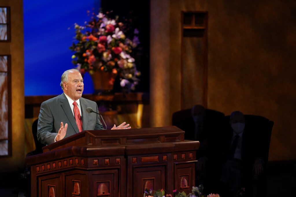 Elder Ronald A. Rasband, of the Quorum of the Twelve Apostles, speaks during the Sunday afternoon session of the 191st Annual General Conference of The Church of Jesus Christ of Latter-day Saints on April 4, 2021.