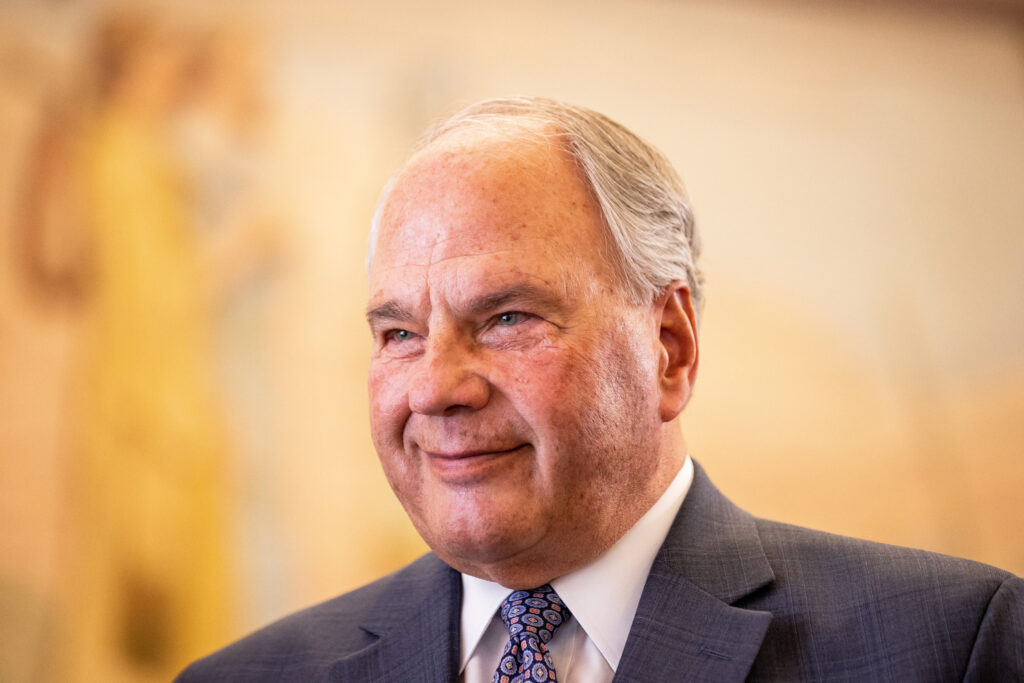 Elder Ronald A. Rasband, a member of the Quorum of the Twelve Apostles of The Church of Jesus Christ of Latter-day Saints, gives an interview at the Manti Tabernacle in Manti on Saturday, May 1, 2021.