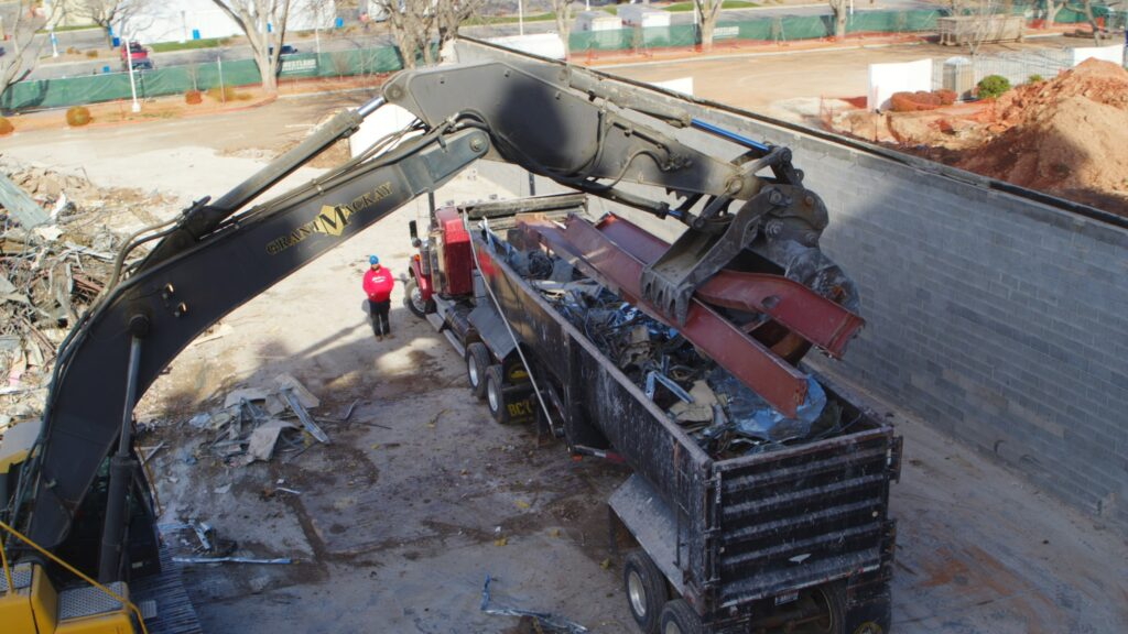 Salvaged materials are sorted, loaded and hauled to recycling plants during the renovation project of the St. George Utah Temple. Renovations are anticipated to be completed in 2022.