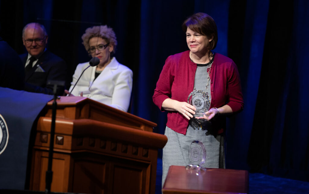Sister Sharon Eubank is awarded the J. Reuben Clark Law Society Exemplary Award at the society's annual fireside at the Conference Center in Salt Lake City, Utah, on Friday, Jan. 24, 2020.