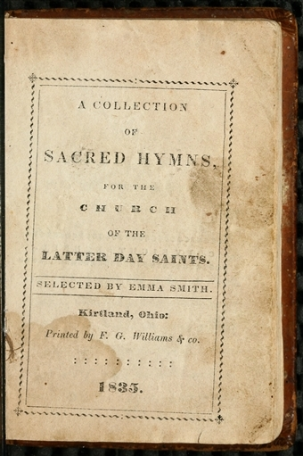 """A page from Emma Smith's compilation """"A Collection of Sacred Hymns for the Church of the Latter Day Saints"""" at the Church History Library."""