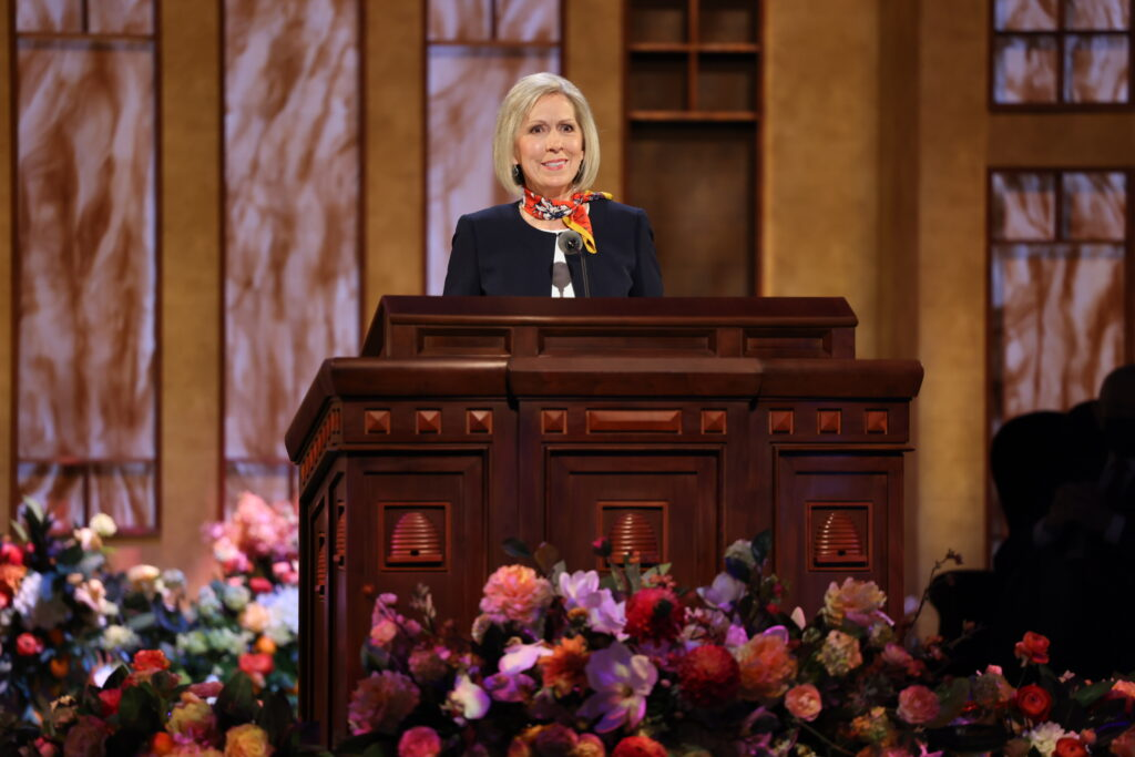 President Joy D. Jones speaks during the Saturday morning session of the 191st Annual General Conference on April 3, 2021.