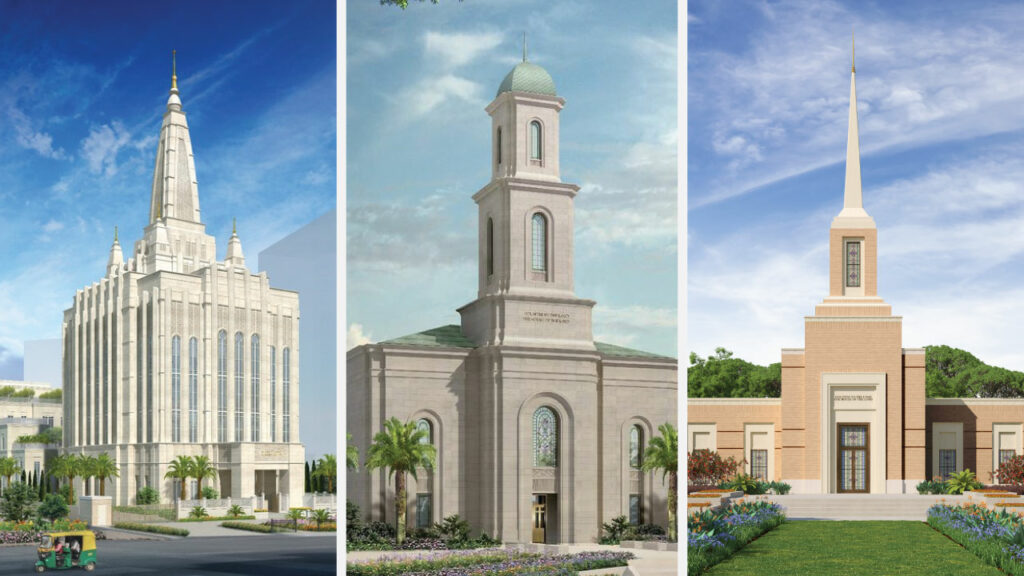 Three temples of The Church of Jesus Christ of Latter-day Saints — from left to right, the Bengaluru India Temple, the Davao Philippines Temple and the Harare Zimbabwe Temple — will have late-year groundbreakings in 2020, as announced by the Church on Oct. 1.
