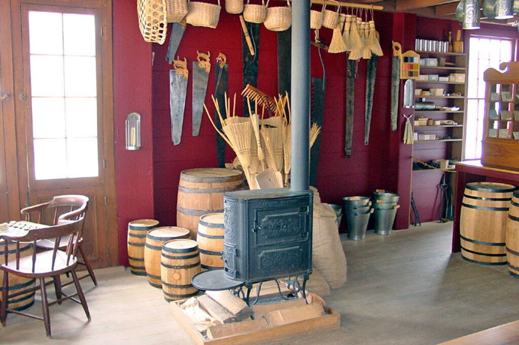 The main room of N.K. Whitney & Co. Store in Kirtland, Ohio, is shown in March 2009. A wood-burning stove was used the heat the room.