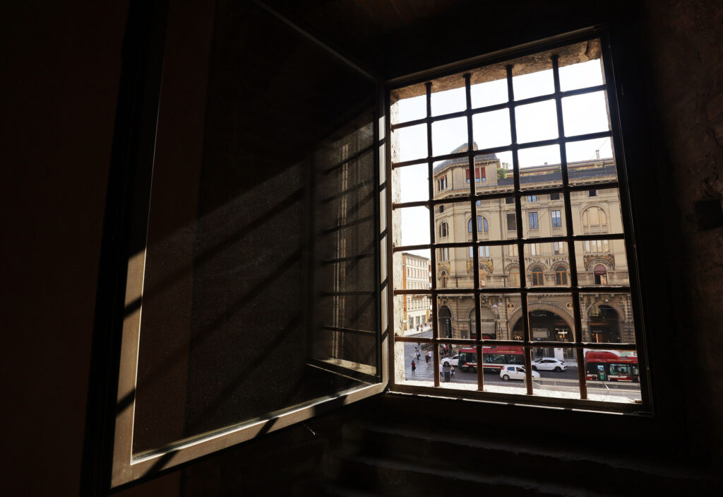 A view through the window from Palazzo Re Enzo during the G20 Interfaith Forum in Bologna, Italy on Monday, Sept. 13, 2021.