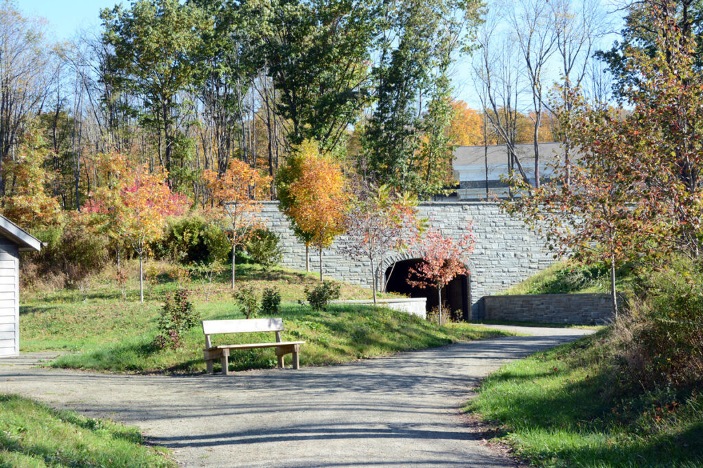 This tunnel, shown in October 2019, connects the visitors' center and the restored homes of Issac and Elizabeth Hale and Joseph and Emma Smith at the Priesthood Restoration Site in Oakland Township, Susquehanna, Pennsylvania.