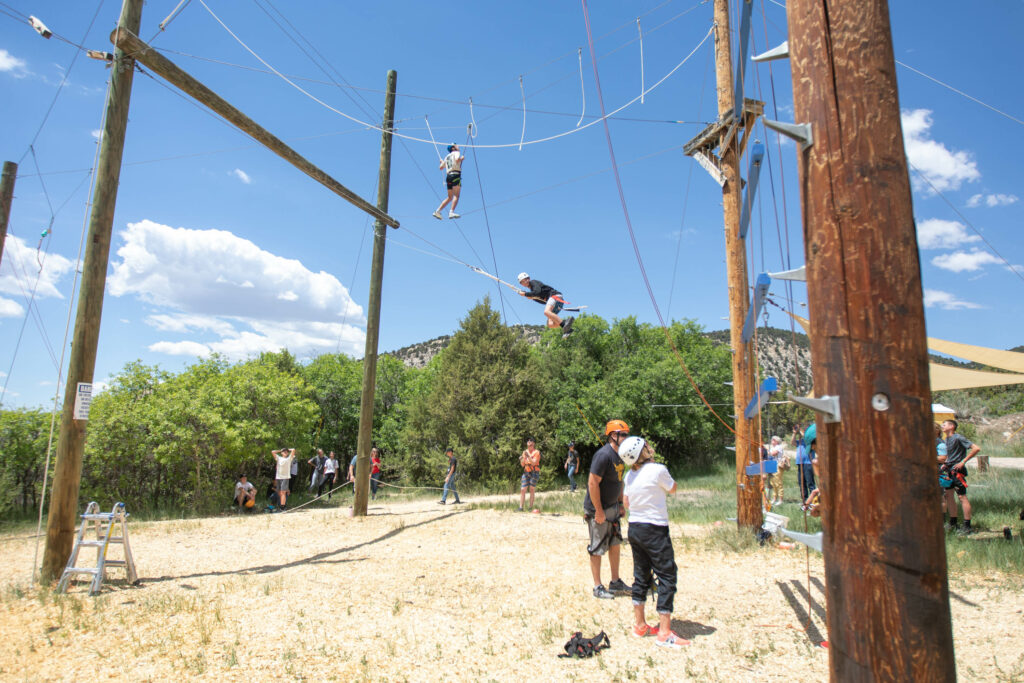 Visitors participate in a variety of ropes courses at Badger Mountain in Ephraim Canyon, Utah, for the Snow Fun! Youth Conference on Thursday, June 3, 2021.