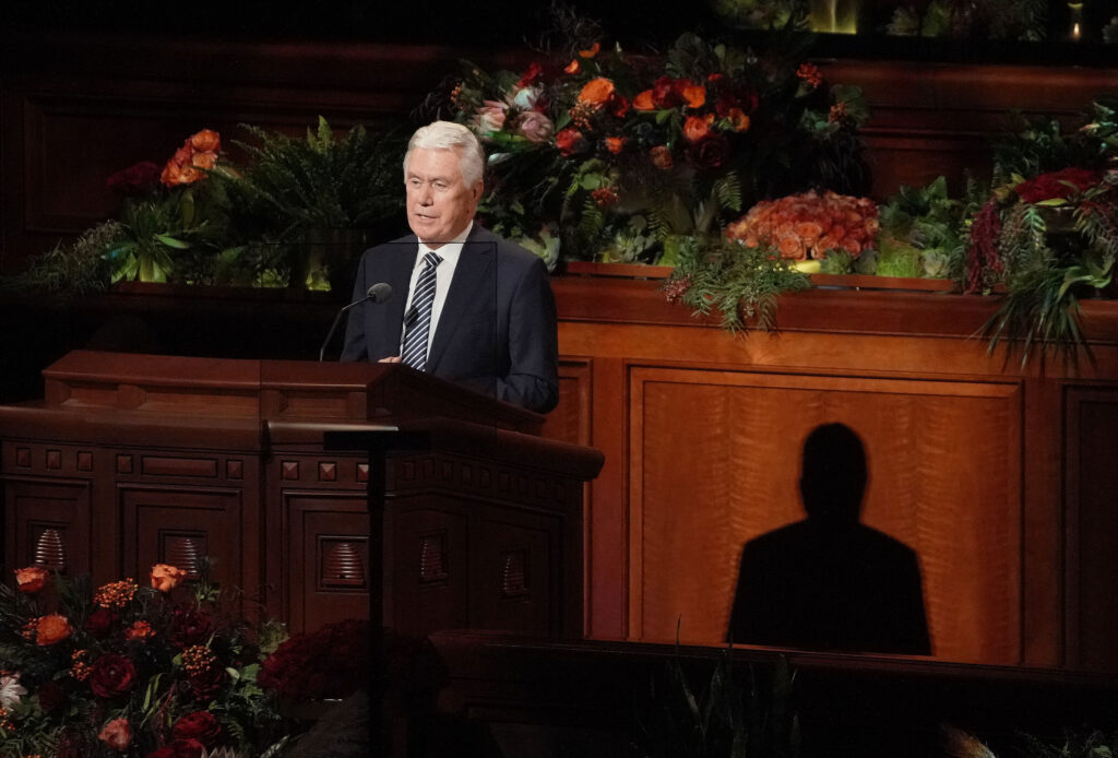 Elder Dieter F. Uchtdorf, a member of the Quorum of the Twelve Apostles of The Church of Jesus Christ of Latter-day Saints,speaks during the Sunday morning session of the church's 191st Semiannual General Conference in the Conference Center in Salt Lake City on Sunday, Oct. 3, 2021.
