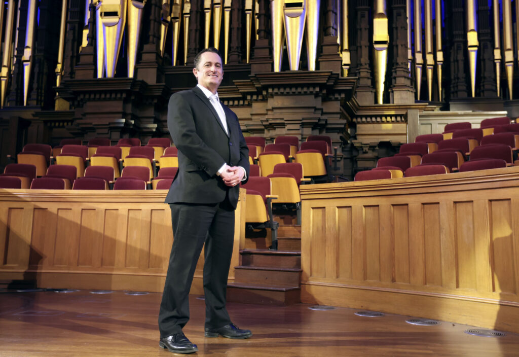 Ryan Murphy, associate music director of The Tabernacle Choir at Temple Square, poses for a portrait at the Tabernacle in Salt Lake City on Wednesday, Jan. 27, 2021.