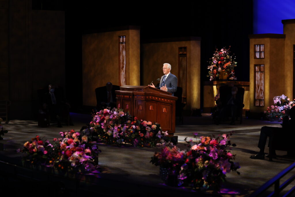 Elder D. Todd Christofferson of the Quorum of the Twelve Apostles speaks during the Sunday afternoon session of the 191st Annual General Conference of The Church of Jesus Christ of Latter-day Saints on April 4, 2021.