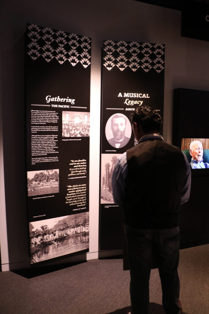 A man stops read one of the displays in the newly dedicated Matthew Cowley Pacific Church History Center and Museum in Hamilton, New Zealand, on Saturday, June 17.