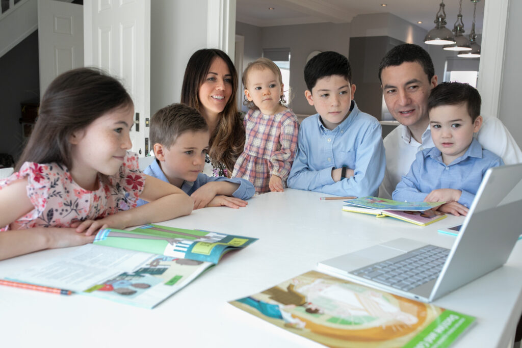 A family in Sheffield, England, participates in a session of The Church of Jesus Christ of Latter-day Saints' 191st Annual General Conference, broadcast on Saturday, April 3, and Sunday, April 4, 2021.