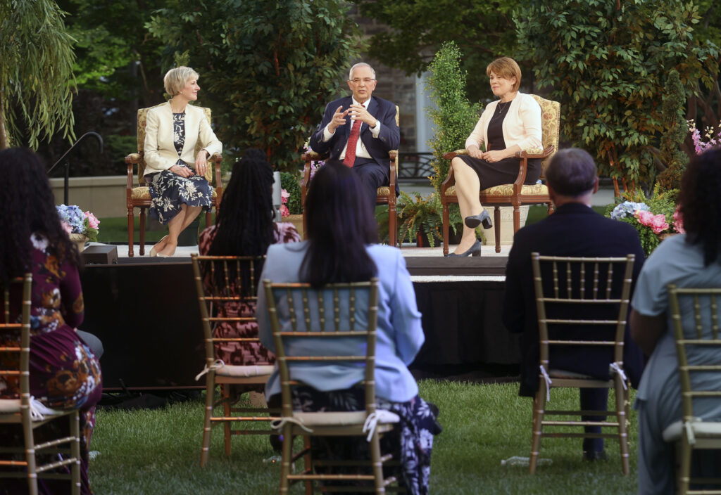 Relief Society General President Jean B. Bingham, Elder Neil L. Andersen, of the Quorum of the Twelve Apostles, and Sister Sharon Eubank, first counselor in the Relief Society general presidency, film a Face to Face event for single adults age 31 and older on the Logan Utah Temple grounds in Logan on Monday, June 7, 2021.