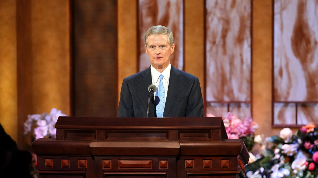 Elder David A. Bednar, of the Quorum of the Twelve Apostles, speaks during the Sunday afternoon session of the 191st Annual General Conference of The Church of Jesus Christ of Latter-day Saints in Salt Lake City on April 4, 2021.