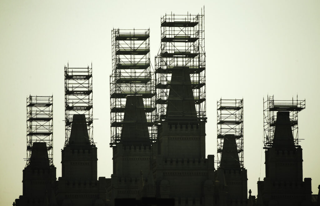 The Salt Lake Temple is under renovation during the 190th Semiannual General Conference of The Church of Jesus Christ of Latter-day Saints in Salt Lake City on Sunday, Oct. 4, 2020.