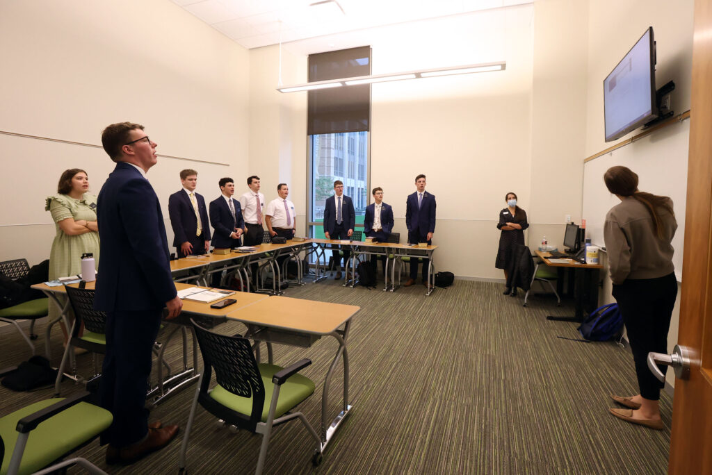 Sister Elizabeth Wheatley sings a hymn with her district as they meet in person for the first time at the Provo Missionary Training Center in Provo on Wednesday, Aug. 18, 2021.