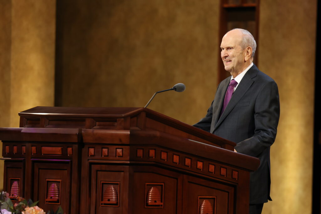 President Russell M. Nelson speaks during the morning session of the 191st Annual General Conference of The Church of Jesus Christ of Latter-day Saints in Salt Lake City on Saturday, on April 3, 2021.