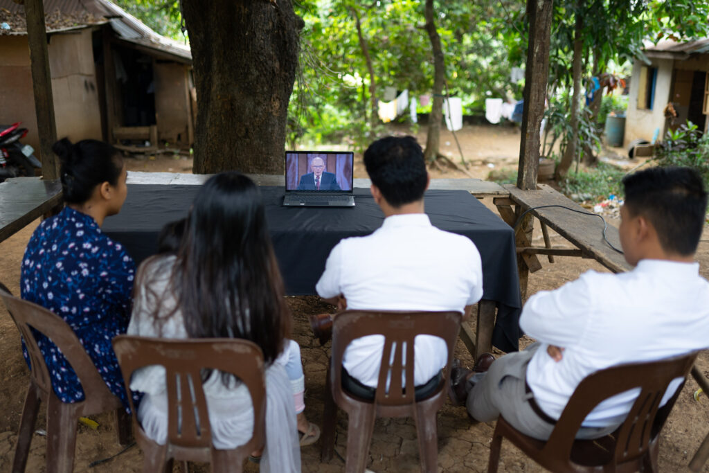 A family in Manila, Philippines, participates in a session of The Church of Jesus Christ of Latter-day Saints' 191st Annual General Conference, broadcast on Saturday, April 3, and Sunday, April 4, 2021.