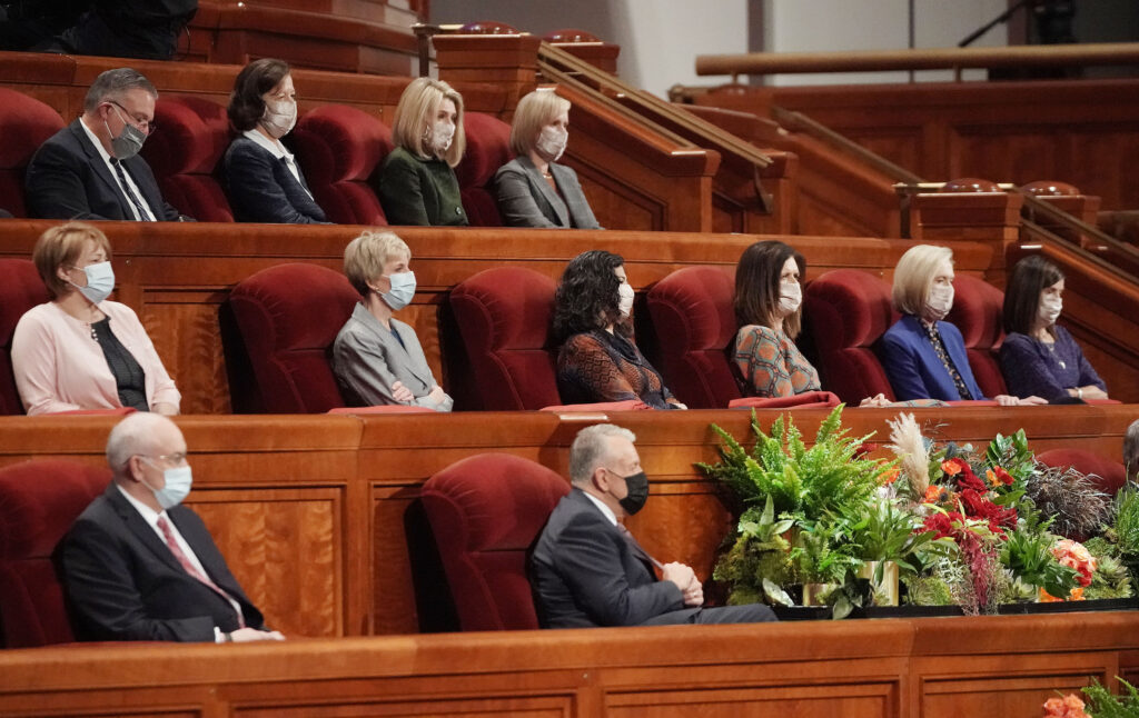 Leaders are seated during the 191st General Conference of The Church of Jesus Christ of Latter-day Saints in Salt Lake City on Sunday, Oct. 3, 2021.