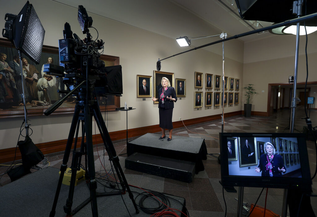 Sister Sheri Dew, former member of the Relief Society general presidency of The Church of Jesus Christ of Latter-day Saints, records a BYU–Pathway Worldwide devotional video in the Conference Center in Salt Lake City on Wednesday, June 9, 2021.