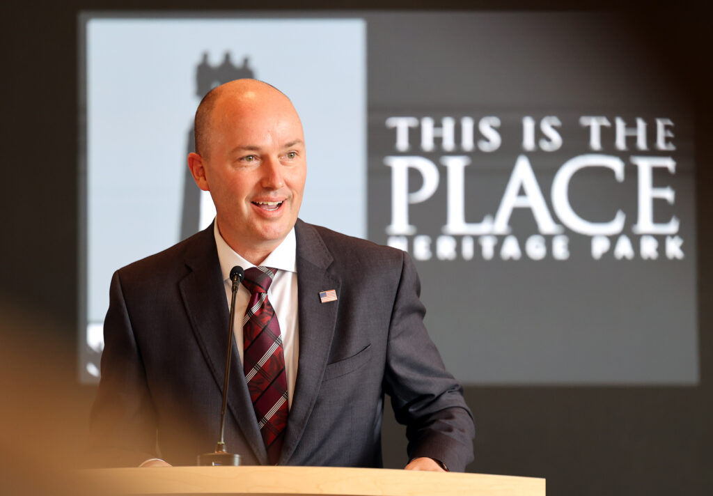 Gov. Spencer Cox speaks during a dedication ceremony for the new Pioneer Center at This Is The Place Heritage Park in Salt Lake City on Friday, March 26, 2021. President M. Russell Ballard, acting president of the Quorum of the Twelve Apostles of The Church of Jesus Christ of Latter-day Saints, offered the dedicatory prayer.