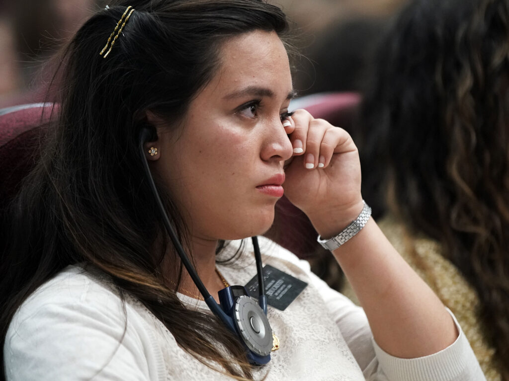 Sister Andrea Galvan of Guadalajara, Mexico, shows emotion as she listens to a talk during a devotional at the Mexico Missionary Training Center of The Church of Jesus Christ of Latter-day Saints on Sunday, Jan. 26, 2020.