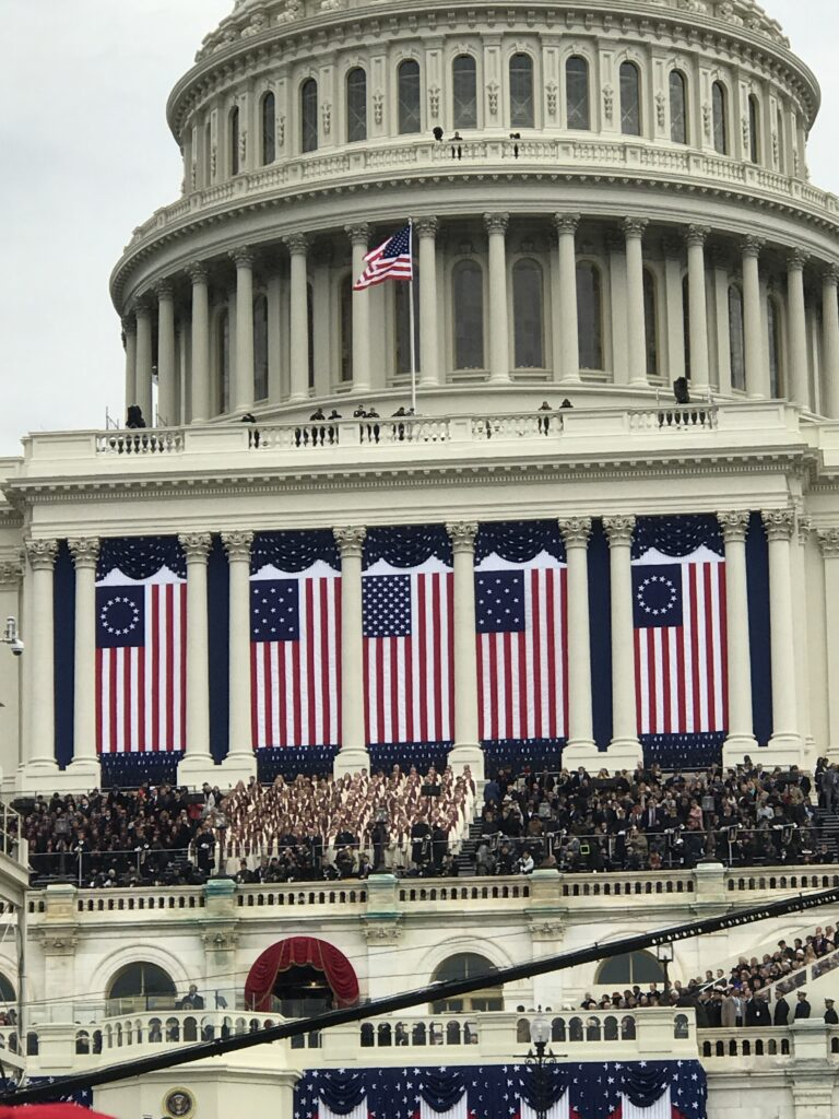 The Tabernacle Choir at Temple Square performs a sound check outside the U.S. Capitol prior to the Jan. 20, 2017, inauguration of President Donald Trump.