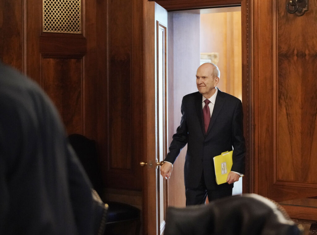 President Russell M. Nelson walks into a First Presidency meeting, held daily Tuesday through Friday, at the Church Administration Building in Salt Lake City on Wednesday, June 16, 2021.