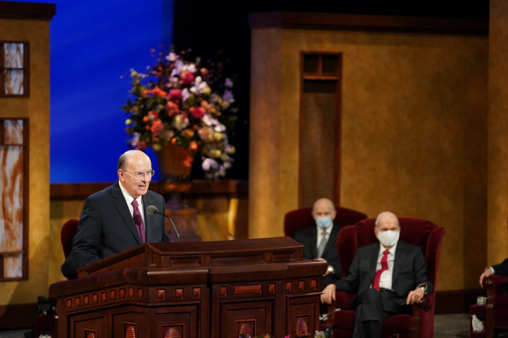 Elder Quentin L. Cook of the Quorum of the Twelve Apostles speaks during the priesthood session of the 191st Annual General Conference on April 3, 2021.