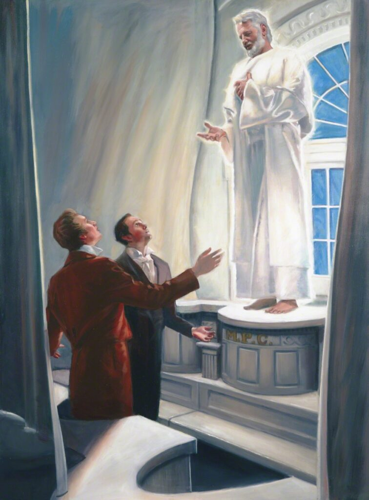"In April 1836, Joseph Smith and Oliver Cowdery received from Elijah the sealing keys that would bind families together. This painting by Dan Lewis is titled ""Elijah Appearing in the Kirtland Temple."""