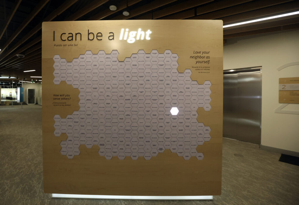 An interactive display suggests ways visitors can serve others, at the Mesa Arizona Temple Visitors' Center is pictured in Mesa, Ariz., on Wednesday, Aug. 11, 2021.