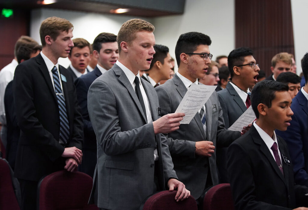 Missionaries sing during a devotional at the Mexico Missionary Training Center of The Church of Jesus Christ of Latter-day Saints on Sunday, Jan. 26, 2020.