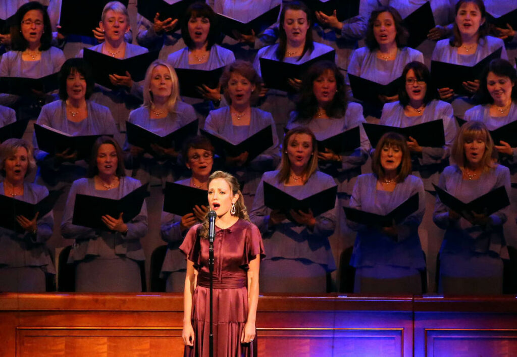 Laura Osnes sings with the Tabernacle Choir and Orchestra at Temple Square during Music for a Summer Evening at The Church of Jesus Christ of Latter-day Saints Conference Center in Salt Lake City on Friday, July 17, 2015.