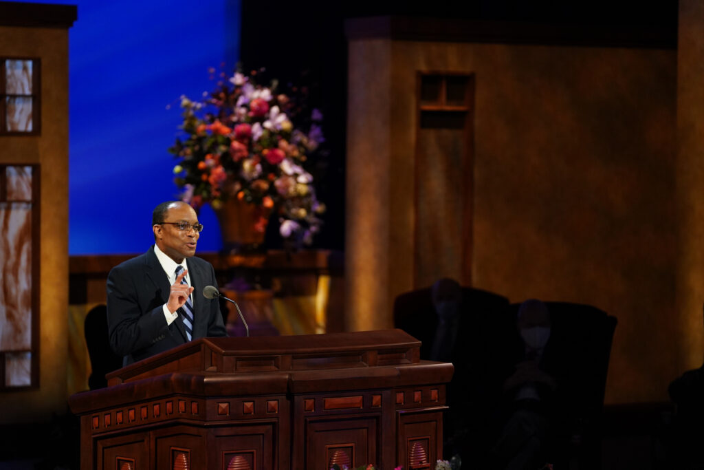 Brother Ahmad S. Corbitt, first counselor in the Young Men general presidency, speaks during the priesthood session of the 191st Annual General Conference on April 3, 2021.