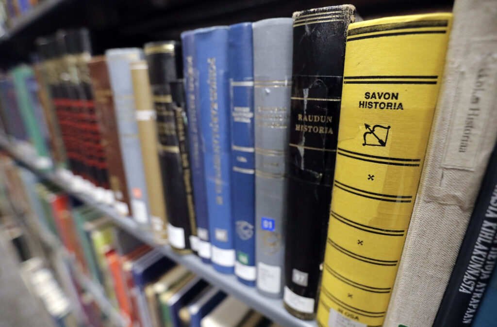 Books are stacked in new locations after a remodel at The Church of Jesus Christ of Latter-day Saints' Family History Library in Salt Lake City on Tuesday, June 29, 2021.