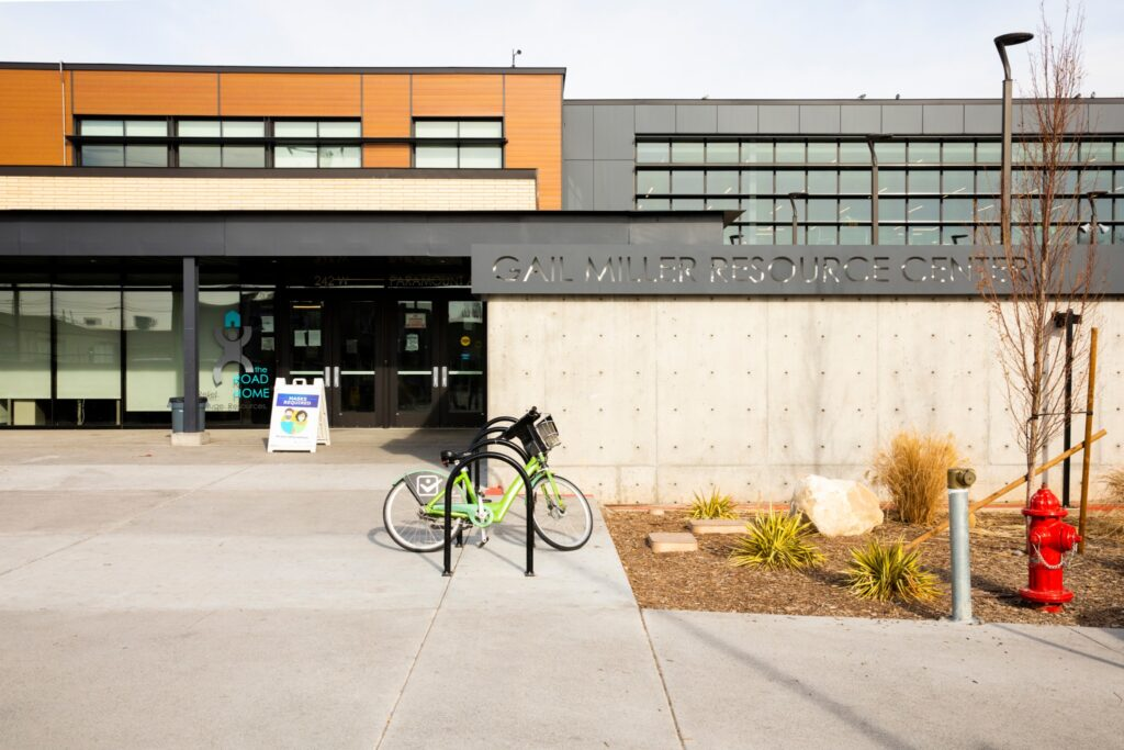 The Road Home operates the Gail Miller Resource Center, located at 242 Paramount Avenue in Salt Lake City, Utah. The center provides on-site supportive services for those experiencing homelessness. This photo was taken on Tuesday, January 12, 2021.