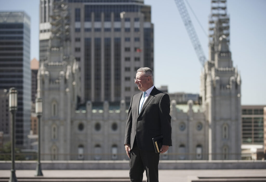 Elder Ulisses Soares, of The Church of Jesus Christ of Latter-day Saints' Quorum of the Twelve Apostles, looks at the view from the roof of the Conference Center in Salt Lake City on Tuesday, June 23, 2020.